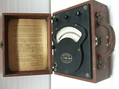 Vintage Antique Weston Model 341 AC DC Volt Meter 1946 ACDC Rare Test Equipment