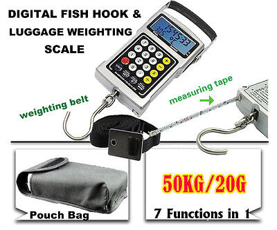 DIGITAL FISH HOOK 50KG LUGGAGE WEIGHING SCALE 7 in 1 HANGING WEIGHTING WEIGH NEW