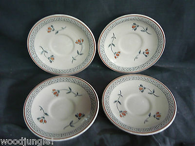 4  Vintage JOHNSON BROS OLD ENGLISH ZEPHYR COFFEE CUP SAUCERS  ENGLAND