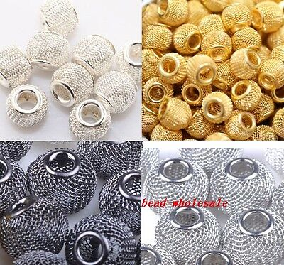 20pcs Silver/Golden/Black Basketball Wives Earrings Lots Spacer Mesh Beads 12mm