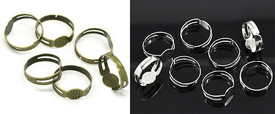10 x Adjustable Ring Blanks 8mm Pad - Silver Plated or Antique Bronze
