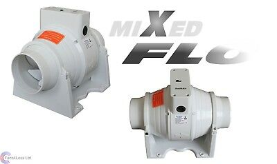XFLO100T in line Mixed Flow 4'' dia for Hydroponics Bathroom Extractor Fan Timer