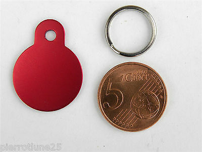 MEDAILLE GRAVEE RONDE ROUGE CHAT chaton collier medalla cane hund katze