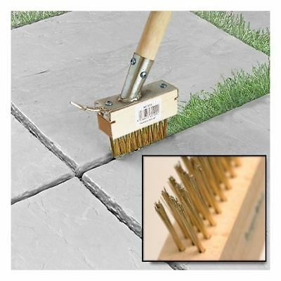 2in1 METAL COVER EXTRA LONG PAVING BRUSH PATIO WEED REMOVE SCRAPPER TOOL GARDEN