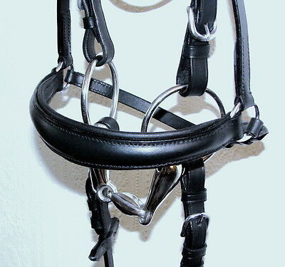 FSS German Leather Comfort Soft Padded DROP Dropped Baroque Dressage Noseband