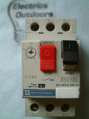 TELEMECANIQUE 1 - 1.6 AMP 50Hz MANUAL START STOP SWITCH GV2 - M06 GV2M06 IEC 947