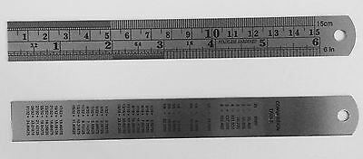 "2pc 6"" Stainless Steel Pocket Measuring Ruler Set Double Sided SAE & Metric USA"