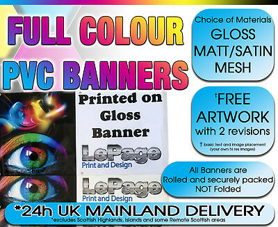 PVC VINYL BANNER Heavy Duty Printed OUTDOOR Quality Choice of Gloss Matt or Mesh