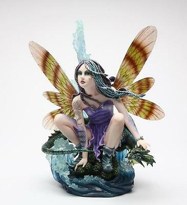 Large Ocean Fairy With Leviathan Blue Dragon Statue Figurine Meadow Legends