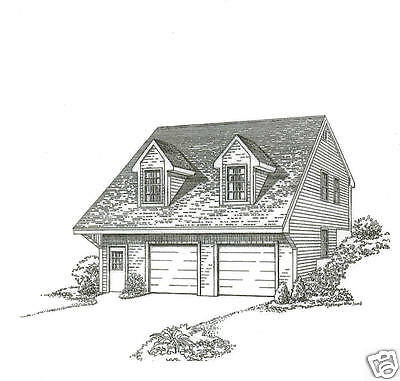 30 x 32 2 Car Hill Side Carriage Garage Building Plans / Interior Stair to Loft