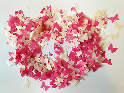 Cerise Pink & Ivory Butterfly Wedding Confetti Biodegradable Handmade over 1000p