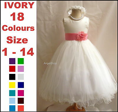 New Ivory Pageant Communion Flower Girl Dress Tulle Bridesmaid Wedding Dress