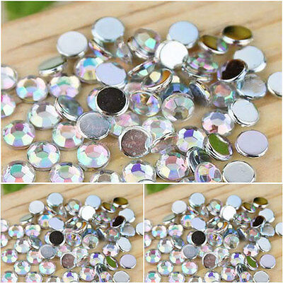 10mm/12mm Clear AB round flat back rhinestone diamante gems/cardmaking