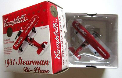 Campbells 1931 Stearman Bi-Plane, 1 of 25,000, Scale 1:54, Limited Edition, New