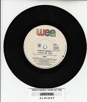 "1927  That's When I Think Of You  7"" 45 rpm vinyl record + juke box title strip"
