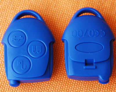 Ford Transit Connect Focus Mondeo 3 Button Remote Fob Key Case Shell Blue