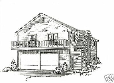 28 x 36 2 Car Garage Building Plans w/ 2nd Floor Open Loft Area & Exterior Stair