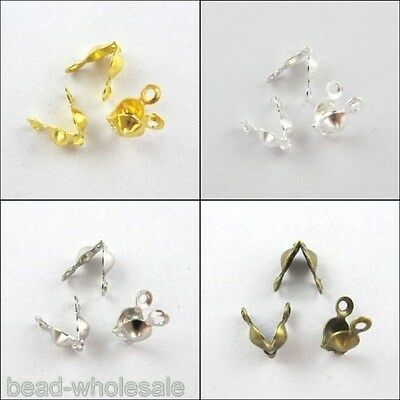 Wholesale Lot 300pcs Bottom Clamp Clam Shell Bead End Tips With Open Loop 7x4mm