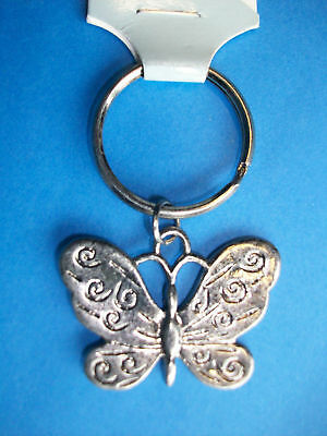 Old Stock Butterfly Key Chain Keyring New Pink Iridescent