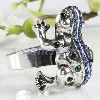 Cute Blue Green Austrian Crystal Toad Frog Animal Adjustable Finger Ring Size 7