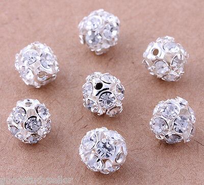 50 pcs Silver Plated Rhinestone Pave Spacer Beads Charms Jewelry Findings 8mm