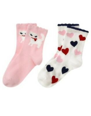 Gymboree Homecoming Kitty Hearts N Kitty 2 Pair Of Girls Sock 3 4 5 7 8 9 Nwt