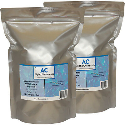 10 Pounds - Copper Sulfate Pentahydrate Crystals - 99% Pure