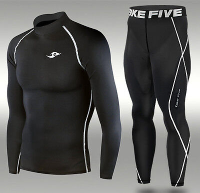 Mens Compression Skin Tight Top+Pants Set Baselayer Sports Underwear  XS-4XL TFx