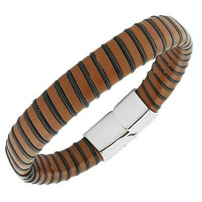 Stainless Steel Brown Leather Silver Tone Braided  Mens Bracelet with Clasp