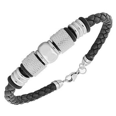 Stainless Steel Black Leather Silver Tone Mens Bangle Bracelet with Clasp