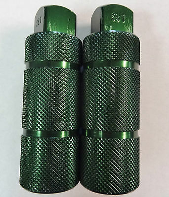 Bike Axle Pegs for BMX Freestyle 3/8 inch Axle Anodized Green Screw On Style
