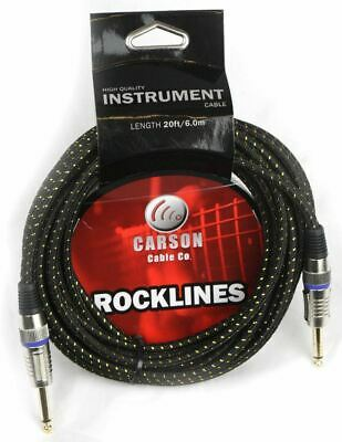 CARSON 20 Foot Guitar Lead / Instrument Cable *NEW* Noiseless Braided Black/Gold