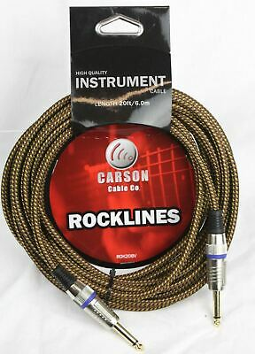 CARSON 20 Foot Guitar Lead / Instrument Cable *NEW* Noiseless Braided Tweed