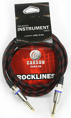 CARSON 10 Foot Guitar Lead / Instrument Cable *NEW* Noiseless Braided Black/Red