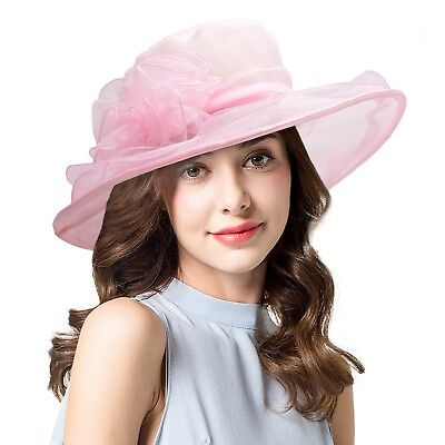 Womens Dress Church Wedding Kentucky Derby Wide Brim Cap Sun Floral Hats A002
