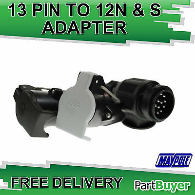 13 PIN TO 7 PIN 12N & 12S CONVERSION ADAPTOR LEAD  12vOLT 200MM CABLE MAYPOLE MP