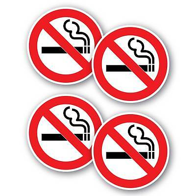 No smoking 4 pack stickers 100mm waterproof non fade quality outdoor vinyl
