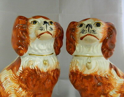 """Pr. Antique 6 1/2"""" Red and White English Staffordshire Spaniels - c1860"""