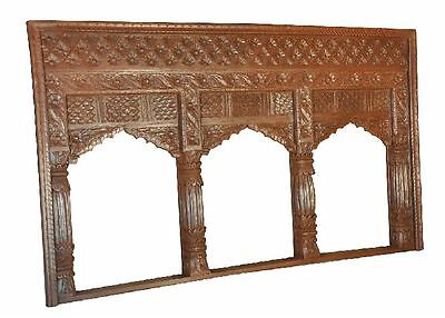 INDIA antique wide threeparted FRAME for WINDOW wonderful carving hard wood (ID)