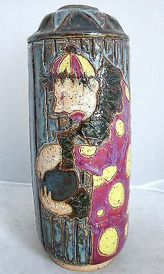 "9.6"" Artist Signed Pottery Clown Vase w/ Flambe Drip Glaze ~ RYAN FLANDERS 1999"