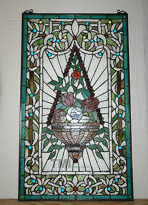 """Large Flower basket Handcrafted stained glass Jeweled window panel, 20"""" x 34"""""""