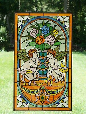 """Two baby angel Tiffany Style stained glass Jeweled window panel, 20"""" x 34"""""""
