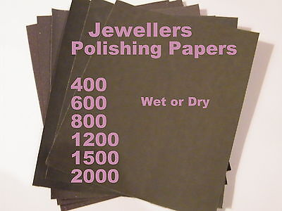 Jewellers Wet/Dry Polishing Papers 6 Grits 400-2000-Art Silver Clay-Bronze-PMC