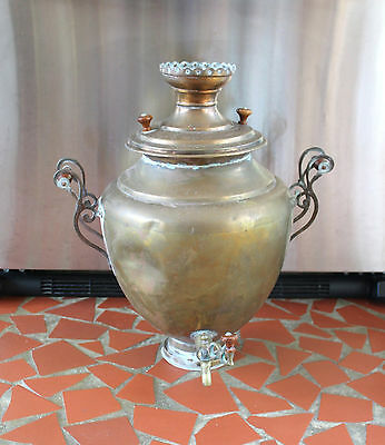 Antique Copper Brass Hot Water Pot Huge Urn Samovar Wood Handles 21""