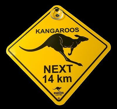 Australian Made Souvenir Roadsign Car Window Swinger Suction Sign Kangaroo