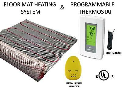 Electric Floor Heat Tile Radiant Warm Heated Kt 10 Mat with Aube Prog Thermostat