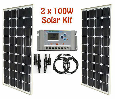 200W 2x 100W Solar Panel panneau solaire 30A LCD charge controller cable RV kit