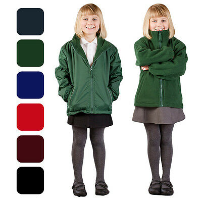 Girls Fleece Reversible Jacket Winter Warm Rain Coat School Uniform Waterproof