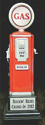 50's Style Gas Pump Trophy - Award - Car Show - Cruise In - New - Free Engraving