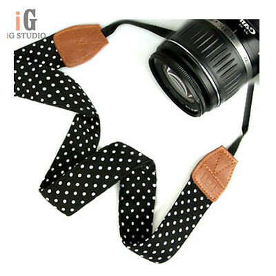 NEW Vintage Black PU Camera Strap Shoulder Straps Neck strap for DSLR Camera